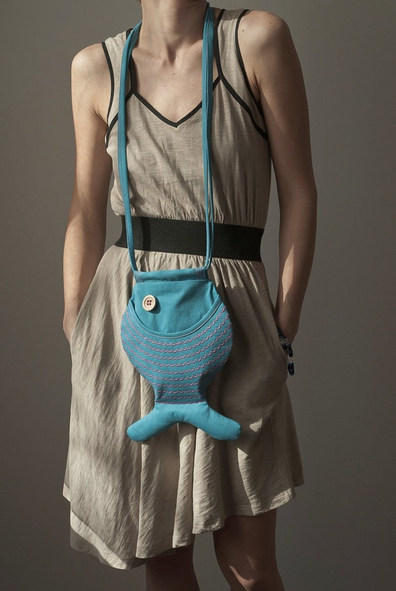 Fish Bag Turquoise Blue Teal Blue Ocean Sea Inspired Hipster Bag Teen Fashion Nautical Kawaii Small Cute Bag Blue / Pink Funny Thing For Kid