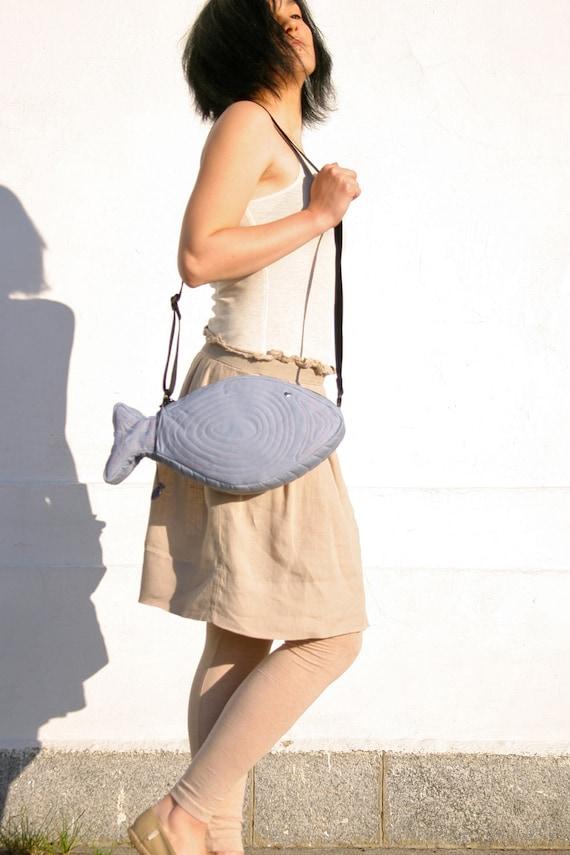 Fish Bag Geek Bag, Kawaii Nautical Light Grey Bag Unique Bag Cross Body Bag Street Style Cotton Bag Gift Ideas For Her Spring Fashion