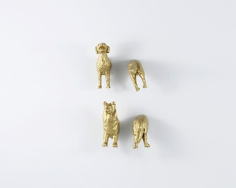 Childrens Magnet set of cute gold dogs -  Set of four (4) magnets -