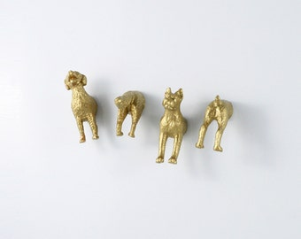 Adult Dog Gift Magnet set of cute gold dogs -  Set of four (4) magnets -