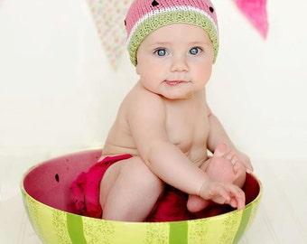Baby Girl Hat, Newborn Girl Photo Prop, Newborn Girl Hat, Baby Watermelon Hat, Pink Cotton Hat, Spring Baby Girl Hat, Knit Baby Girl Hat