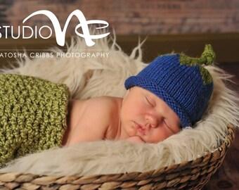 Baby Blueberry Hat, 0-3 Month Blueberry Hat, Baby Photo Prop Hat, Baby Girl Hat, Newborn Boy Knit Hat, Newborn  Blueberry Beanie