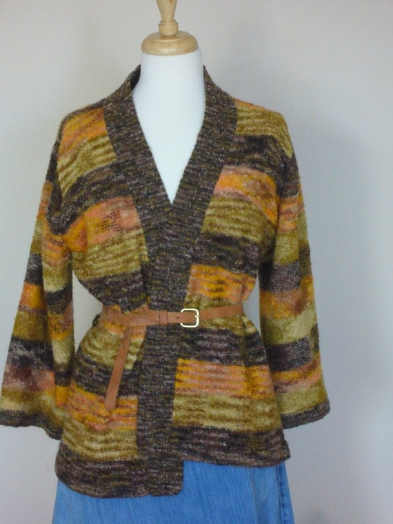 Vintage 1970s MISSONI-inspired Space-Dye/ Wrap/ Cardigan size SMALL/Medium