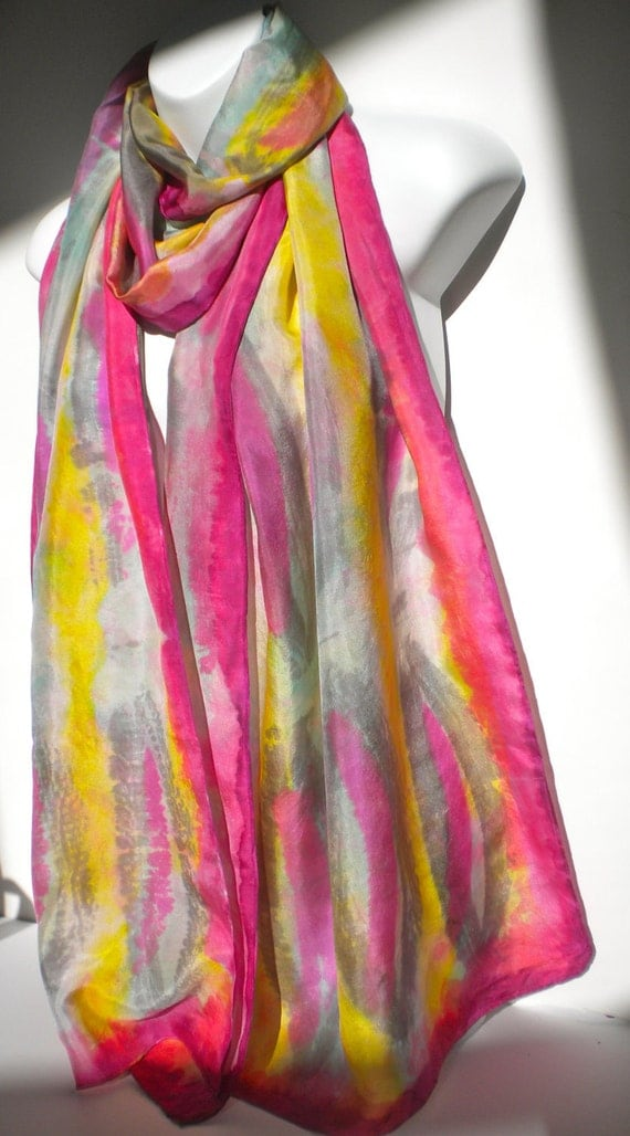 """Beautiful Jewel Tone SILK SCARF  for Women / 22""""x72""""/ Long Hand Painted Silk Scarf by NYC artist Joan Reese/100%Silk /""""One of a kind"""""""