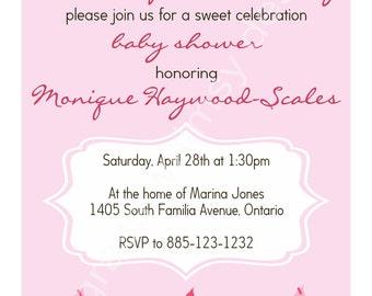 Cupcake Baby Shower Invitation- pink, brown, white