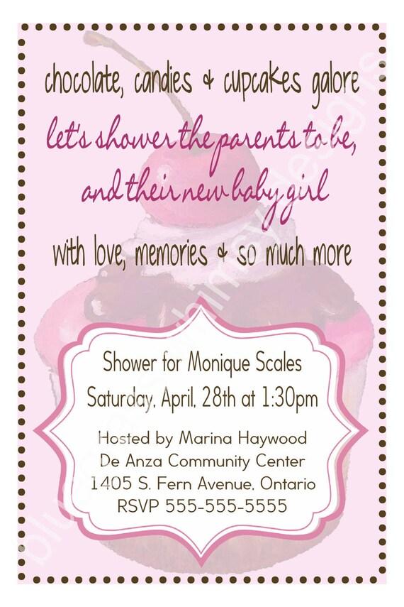 cupcake baby shower invitation pink brown white