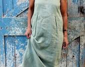 Sleeveless in Seattle Romantic Dress/upcycled boho maxi dress/shabby chic green dress
