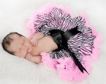 Extra Fluffy Newborn Zebra print pettiskirt w/pink ruffle