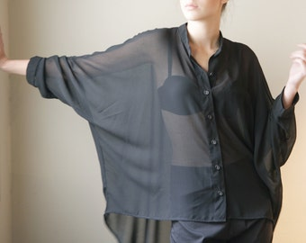 Oversize Black Blouse, Buttoned down, black Shirt, sheer sexy top, collar top, 3/4 sleeves, square cut, asymmetrical shirt, minimal style