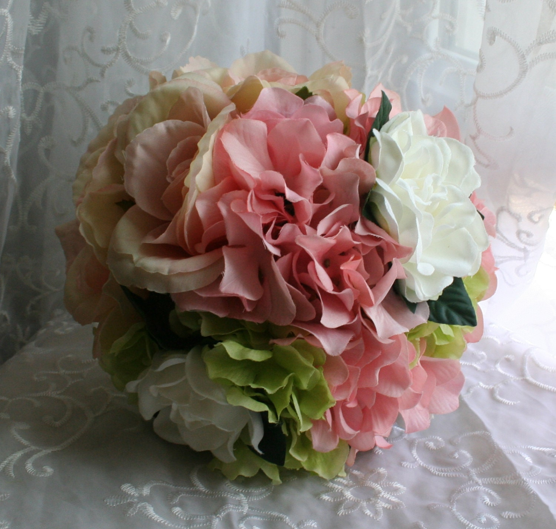 Peach Bouquet & Boutonniere Set Bridal Roses By