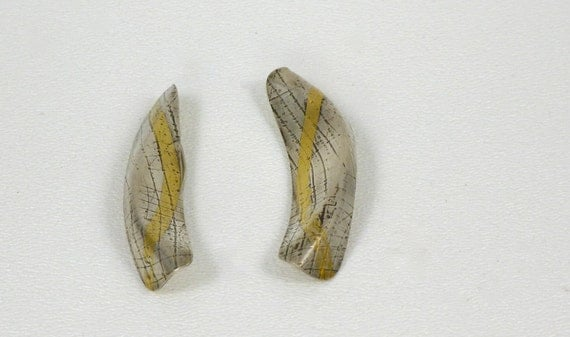 Sterling Silver Form Fold Contemporary Earrings with Gold Keumboo Detail