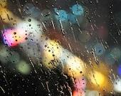 Bokeh Photography Print - Rain Night City Lights - Fine Art  - Home Wall Decor