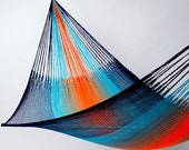 Hammock: Orange & Blue Stripe (Family Size) by Yellow Leaf with Free Shipping