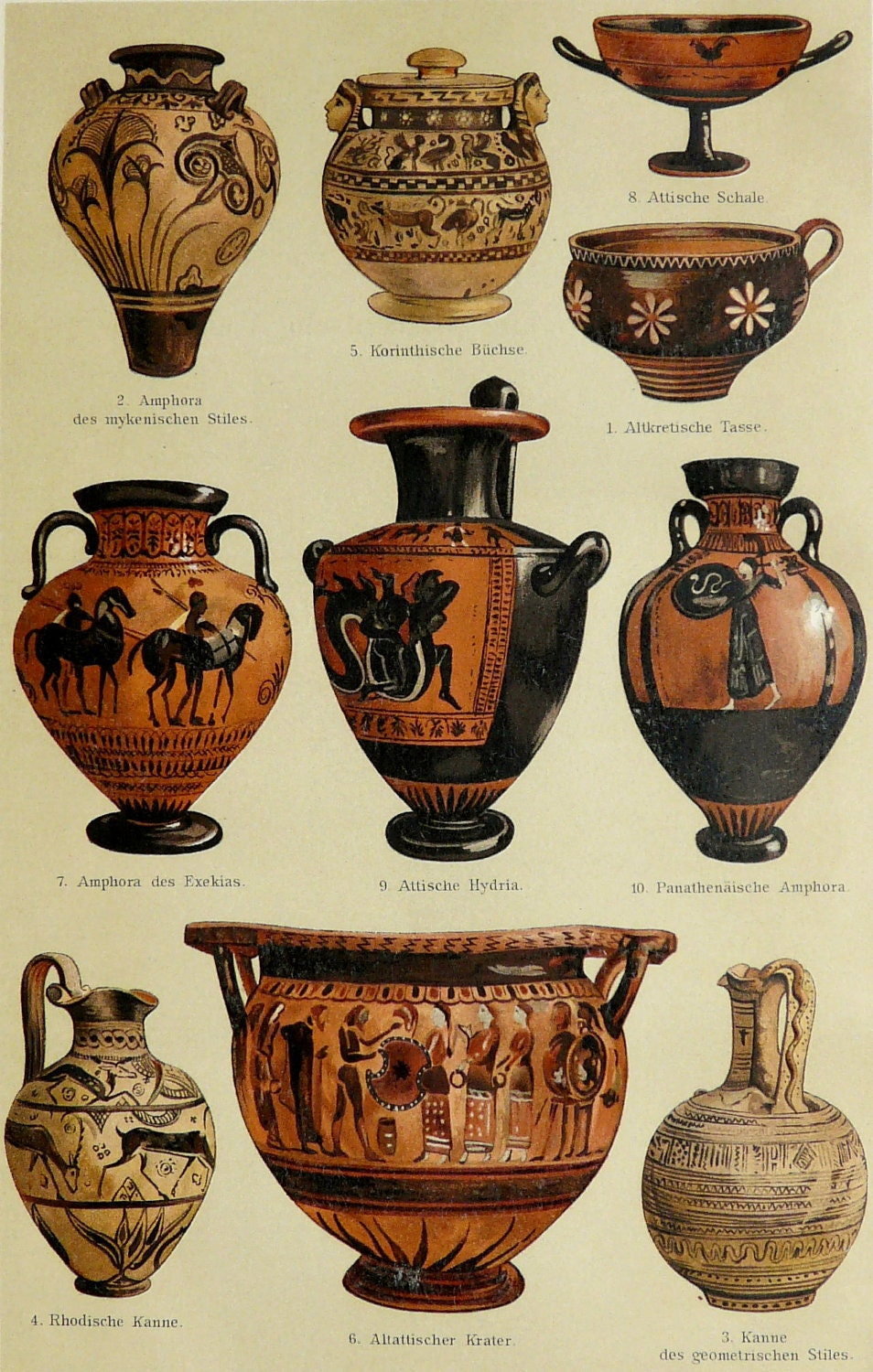 1897 antique print of greek vases pottery of ancient greece for Ancient greek pottery decoration