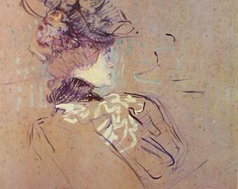 Profile D'Une Femme, by Henri de Toulouse-Lautrec, French Artist, 1966 Vintage Art Print