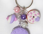Violet fimo keychain with cookie, donut and marshmallow, all handmade