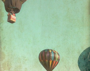 Whimsical hot air balloons, teal green sky, shabby chic