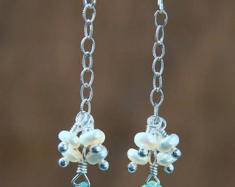 Meredith Earrings: Aqua chalcedony briolette and freshwater pearl earrings on sterling silver
