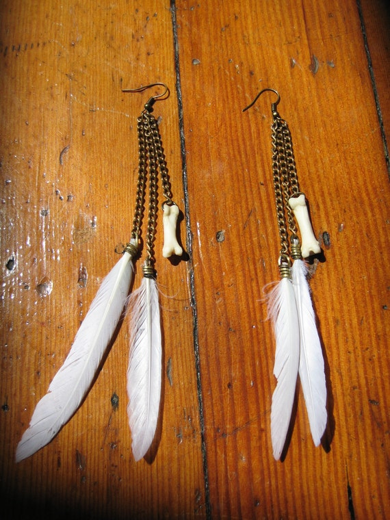 Feather and Coyote Toe Earrings