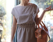 women casual midi dress, Classic short sleeves dress,  Elegant and chic office wear