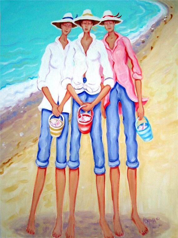 The Treasure Hunters Women Seashells Beach Seashore Print Whimsical Glicee from original painting Korpita ebsq
