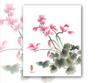 "SALE: 8 x 10 Watercolor Chinese Brush Painting Print ""Cyclamen 2"" for Mom"