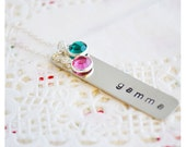 Sterling Silver Mommy Jewelry - Grandma Necklace - Hand Stamped Necklace - Grandchildren Birthstones Necklace