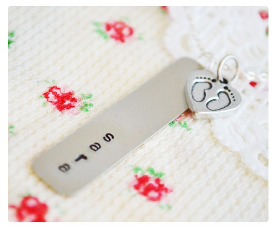 Baby Name Necklace - Sterling Silver Hand Stamped Necklace - Personalized Jewelry - Baby Shower Gift - Baby Feet Silver Charm