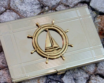 Sailboat Ships Wheel Business Card Case  Metal Wallet Accessory