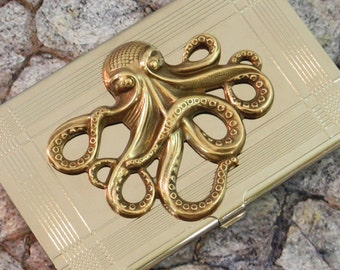 Octopus Business Card Case Holder  Metal Wallet