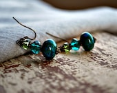 Teal Green Beaded Earrings Chrysocolla and Glass Beads Dangle Wire Wrapped