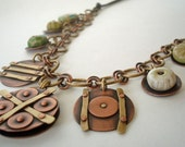 Love in Shades of Green - Riveted Charm Necklace With Ceramic Gems