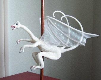 Fabian, Carousel Dragon Sculpture: White Dragon Art Doll