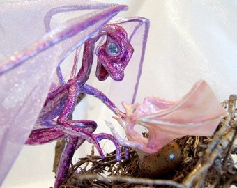 Dragon and Baby Art Dolls: Mama and Hatching Baby, Pink & Purple