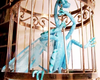 Dragon Victoria Escapes a Birdcage: Turquoise Dragon - Glow in the Dark Dragon Art Doll