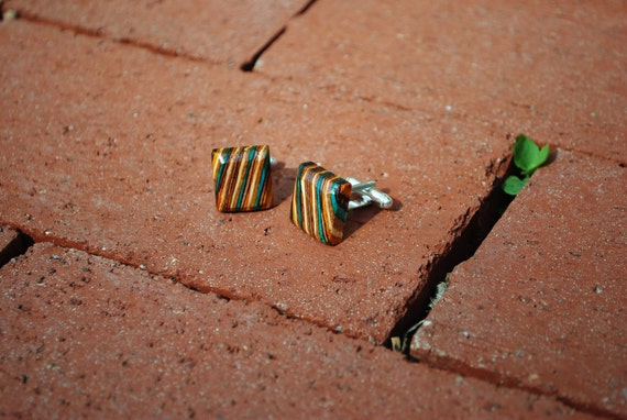 Teal/Brown/Yellow Wood Cuff Links for Men's Dress Shirt