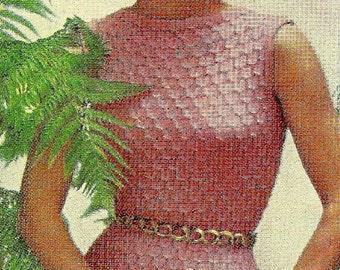 Almost FREE Vintage 1950s Sleeveless Honeycomb Sheath Dress 738 PDF Digital Knit Pattern