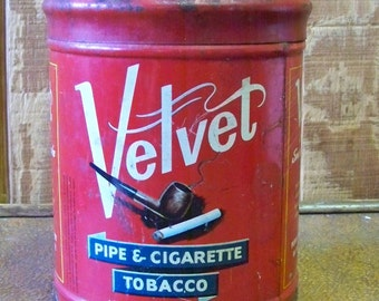 SUPER SALE Vintage Velvet Tobacco Tin in All It's Raw Form Was 12 dollars Now 8 dollars -EtsyonSale tithriftstore.etsy