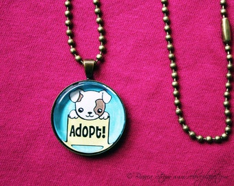 "Adopt Don't Shop Puppy 1"" Pendant Necklace - or 2 for 20 - Animal Rights Pet - ReLove Plan.et"