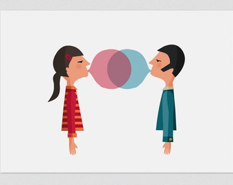 Illustration, Print, Chewing love naive, Tutticonfetti, Wall art, Art decor, Hanging wall, Printed art, Decor home, Gift idea, Sweet home.