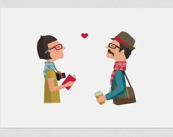 Illustration, Print, Hipster love, Tutticonfetti, Wall art, Art decor, Hanging wall, Printed art, Decor home Gift idea, Bedroom, Sweet home.