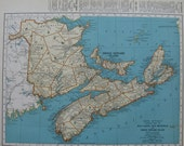 Vintage NOVA SCOTIA Map 1939 Cape Breton pei New Brunswick Travel Gallery Wall Art 6656