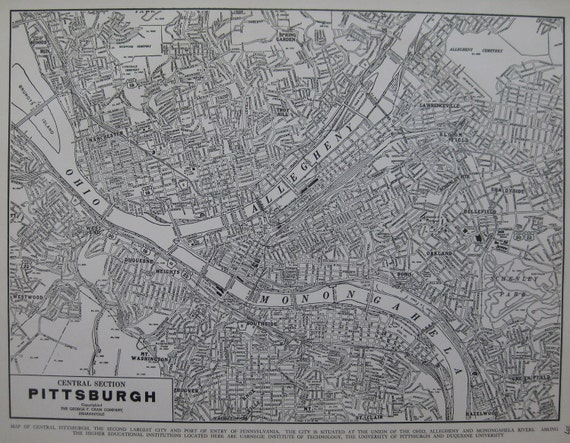 PITTSBURGH Pa Map Vintage 1936 with Named Streets 1930s Map Plaindealing 482