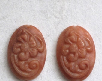Small Oval Stone Carved Cabochons Matched Pair, 16x24 mm Floral Pattern Dark Peach Aventurine LONG DRILLED