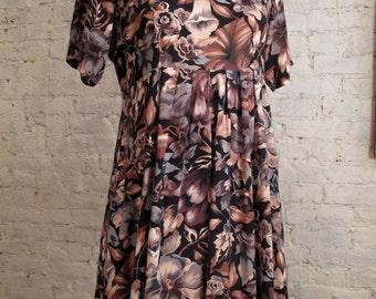 Grunge Dress - 80s/90s Brown, Black and Beige Floral Print