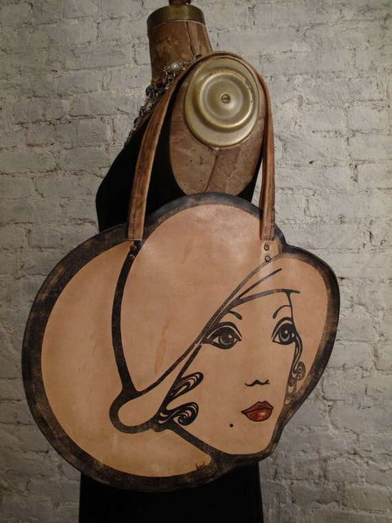 60s Mod Lady's Face Leather Bag - Rare and Collectible Novelty Purse