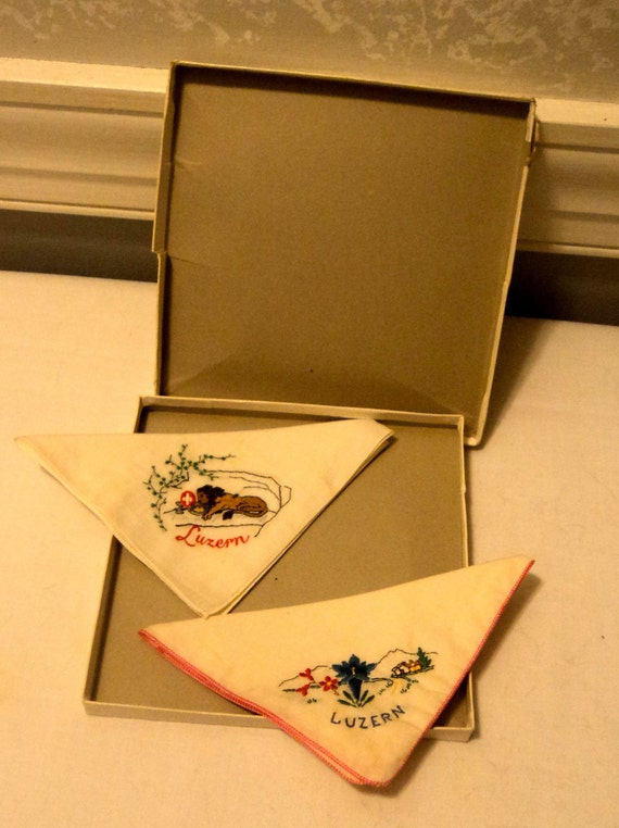 vintage Luzern handkerchiefs in box great condition