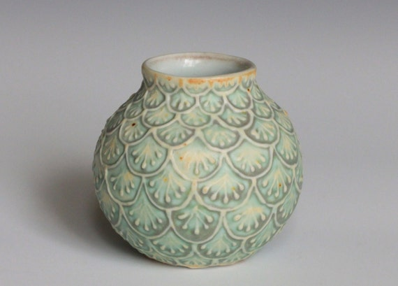 Ceramic Bud Vase with Slip Trailed Design in Green and Yellow Glaze, Wheel Thrown Porcelain