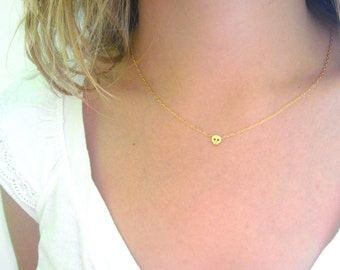 Tiny Skull Necklace - Matte 14k Gold Plated Skull Charm on Gold Delicate Chain with Mint Faceted Bead (also Silver tone available)