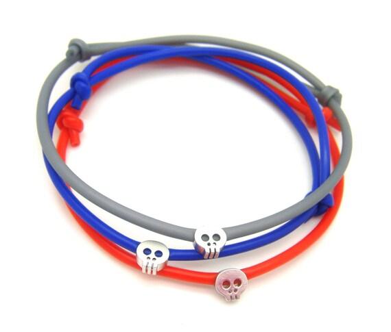 Mens Skull bracelet - Rubber Bracelet w/ Matte Silver Plated Skull - Choose Color - Adjustable Bracelet - Mens Bracelet - Blue Gray Bracelet